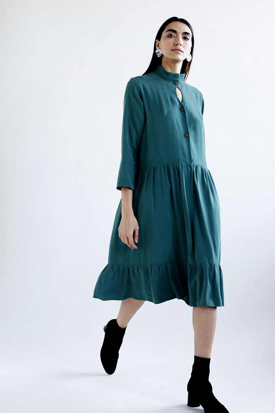 Georgia Dress in Mallard Tencel