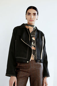 Motor Jacket in Black Hemp-Lyocell