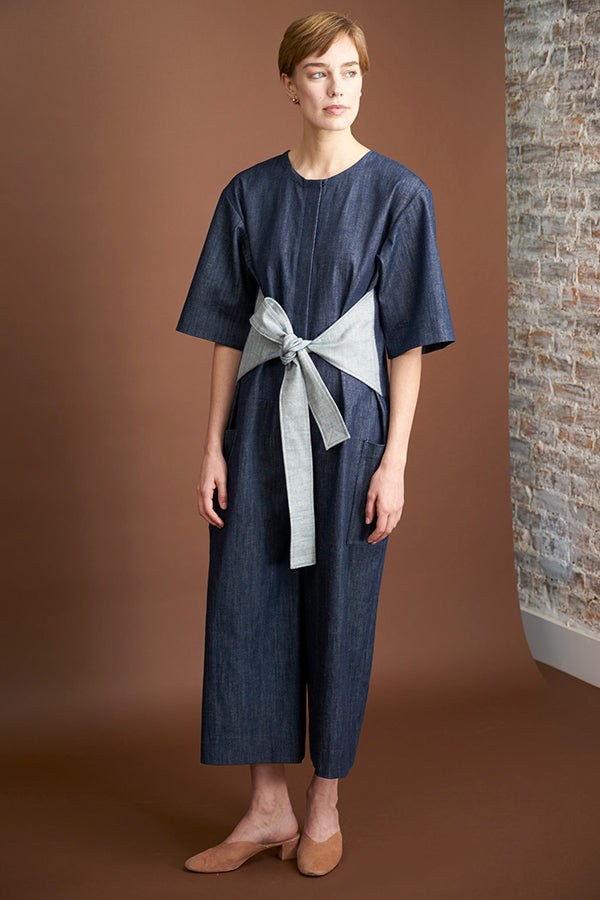 Tied Jumpsuit in Denim Organic Cotton