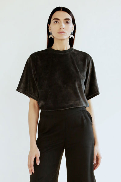 Velour Agnes Top - Black