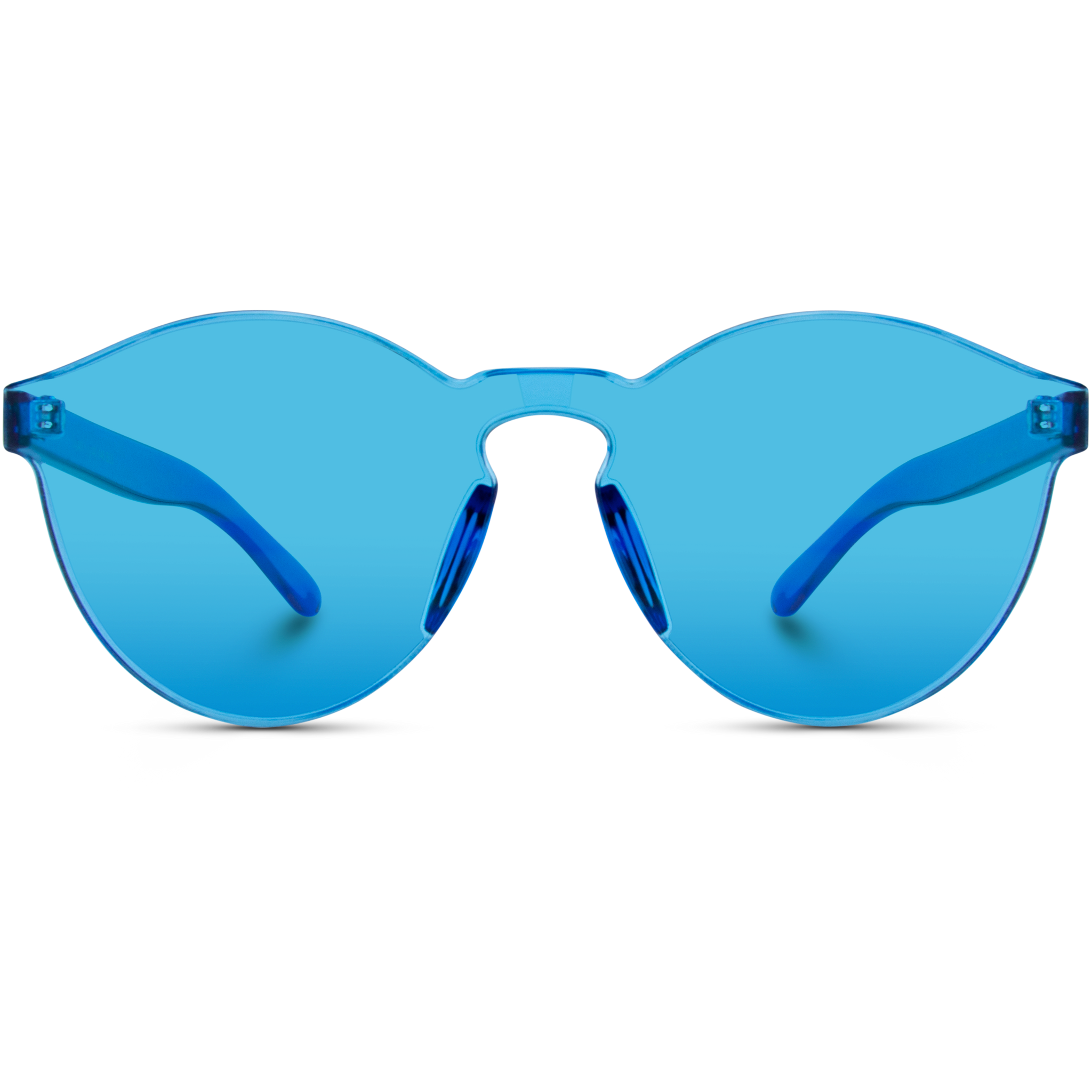blue tinted round sunglasses for women