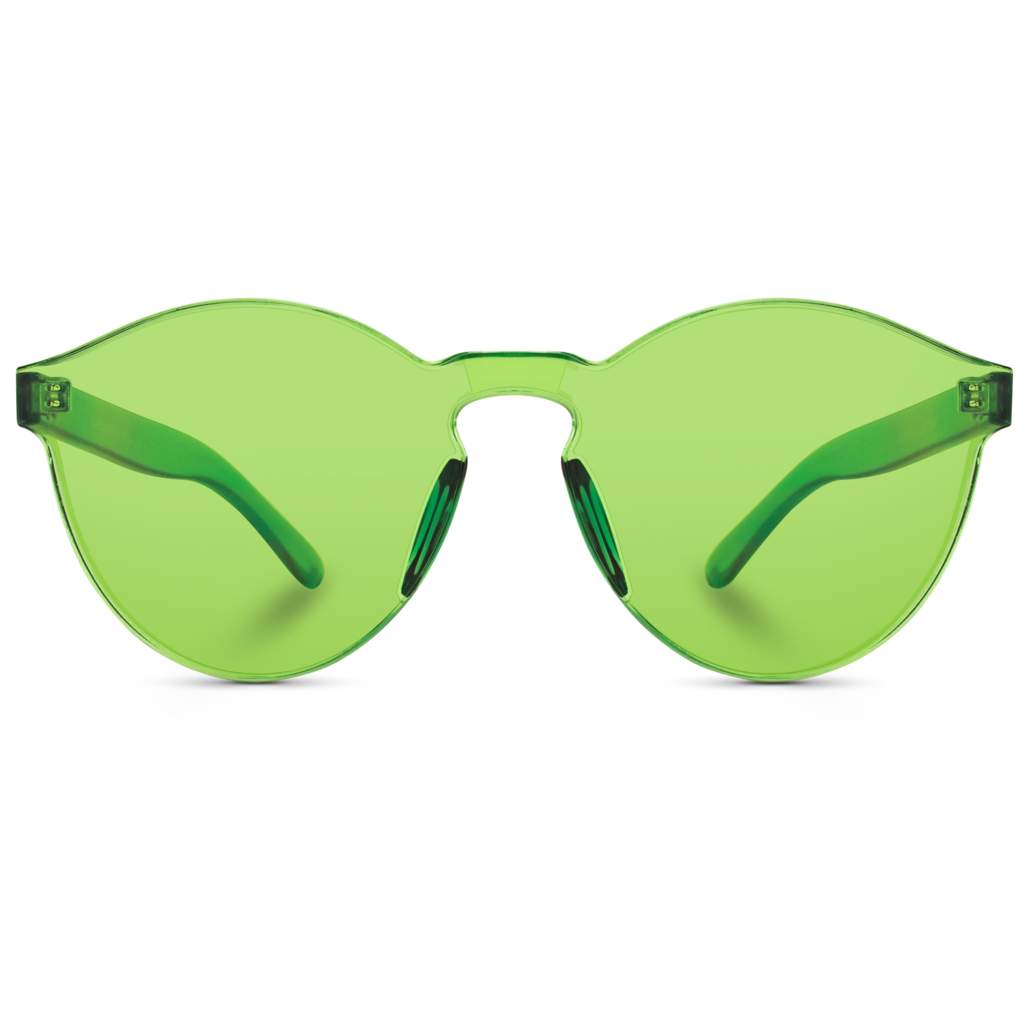 tinted green round sunglasses, mono block round tinted sunglasses