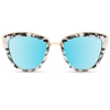 women marble frame mirror blue sunglasses