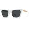 white frame dark polarized gold accent eyewear