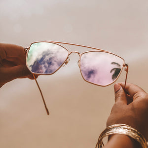 pink lens cateye sunglasses for women styled