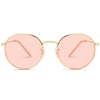 tinted pink lens gold frame sunglasses