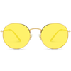 yellow tinted lens retro round sunglasses