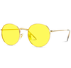 yellow frame metal frame retro glasses