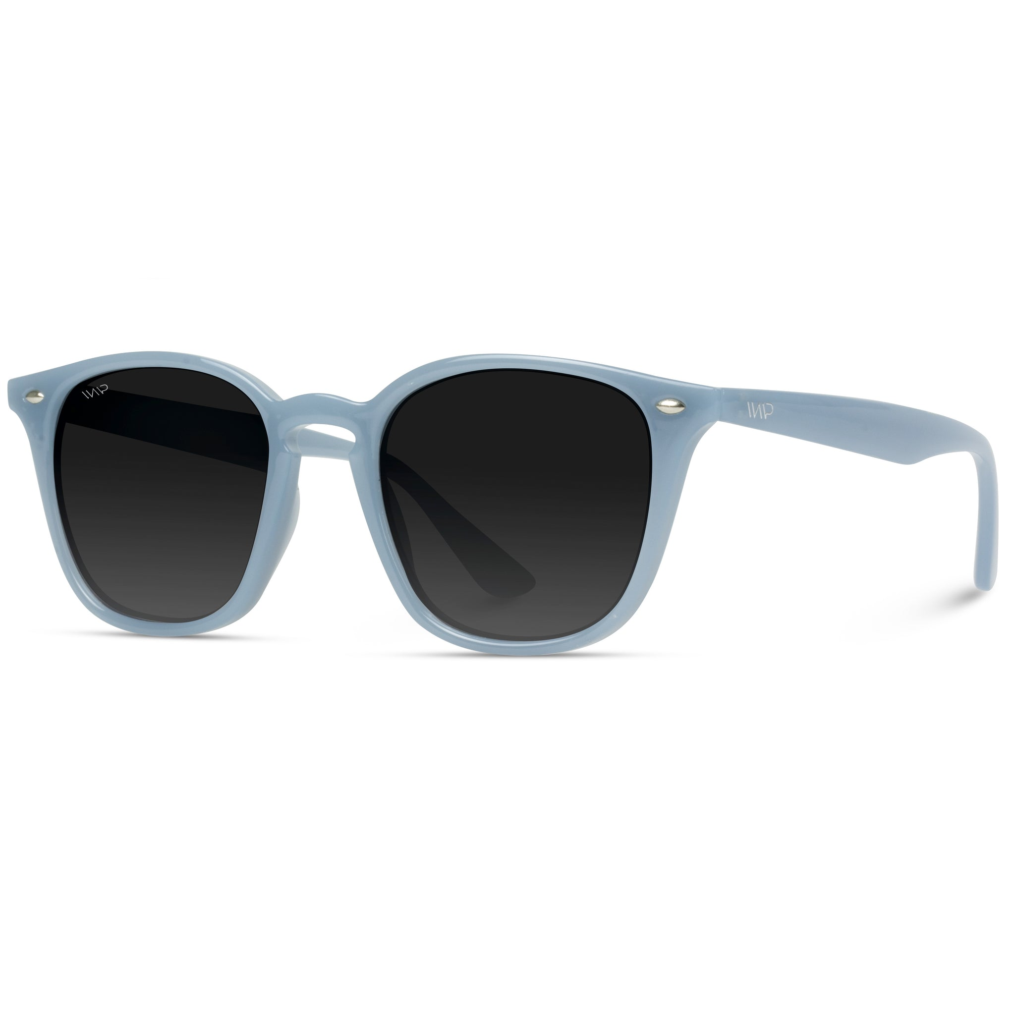 Jax - Slim Square Mirror Lens Retro Horn Rimmed Sunglasses