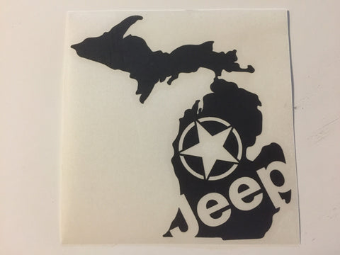 JEEP and state of Michigan decal xj cj jk tj wj