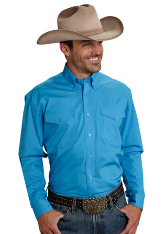 ROPER MENS  AMARILLO BLUE REGATTA LONG SLEEVE SHIRT BUTTON CLOSURE - 2 POCKET main