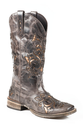 ROPER LADIES  BOOT WESTERN SQ TOE LEATHER FASHION BOOTS