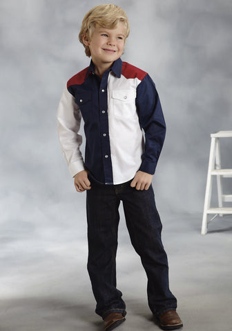 ROPER BOYS  AMERICANA AMERICANA LONG SLEEVE SHIRT SNAP CLOSURE - 2 POCKET