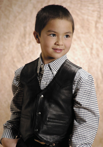 ROPER KIDS  LEATHER VEST LAMB SKIN NAPPA LEATHER VEST