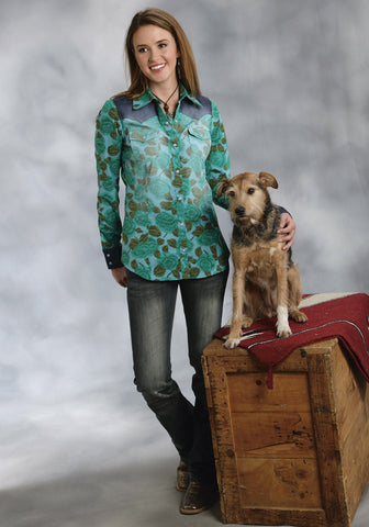 ROPER LADIES 9385 EMERALD FLORAL PRINT SHIRT FIVE STAR EMERALD FOREST GROUP LONG SLEEVE SHIRT SNAP CLOSURE - 2 POCKET