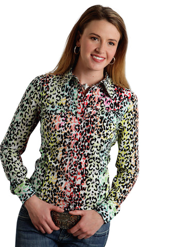 ROPER LADIES 9586 MULTI COLOR LEOPARD PRINT SHIRT FIVE STAR SOMETHING WILD LONG SLEEVE SHIRT SNAP CLOSURE - 2 POCKET