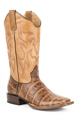 ROPER LADIES  BOOT FAUX EXOTIC ON LEATHER SQ TOE BOOTS