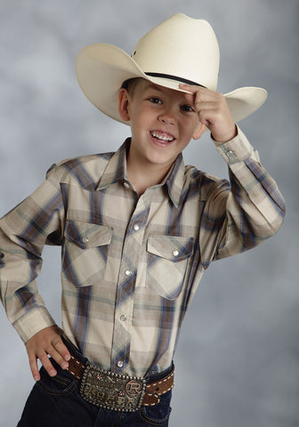 ROPER BOYS 9205 BROWN & BLUE PLAID POLY COTTON 55/45 PLAIDS LONG SLEEVE SHIRT SNAP CLOSURE - 2 POCKET
