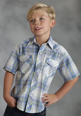 ROPER BOYS 8568 BLUE DOBBY PLAID POLY COTTON 55/45 PLAIDS SHORT SLEEVE SHIRT SNAP CLOSURE - 2 POCKET