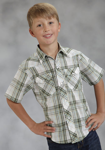 ROPER BOYS 7814 LODEN PLAID POLY COTTON 55/45 PLAIDS SHORT SLEEVE SHIRT SNAP CLOSURE - 2 POCKET