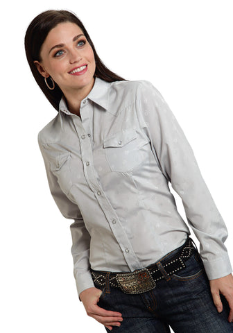 ROPER LADIES  POLY COTTON TONE ON TONE SOLID LONG SLEEVE SHIRT SNAP CLOSURE - 2 POCKET