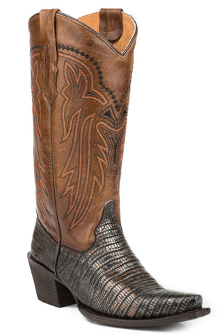ROPER LADIES  BOOT FAUX EXOTIC ON LEATHER SNIPTOE BOOTS