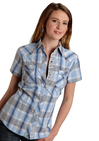 ROPER LADIES 9531 EAST LA PLAID PERFORMANCE NONE SHORT SLEEVE SHIRT SNAP CLOSURE - 2 POCKET