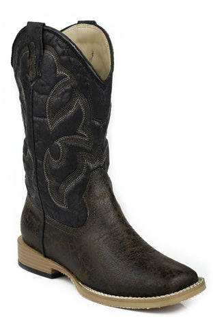 ROPER YOUTH  BOOT WESTERN SQTOE FAUX LEATHR&SOLE BOOTS