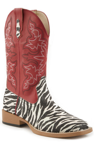 ROPER LADIES  BOOT BLING SQTOE FAUX LEATHER &SOLE BOOTS
