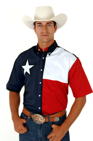 ROPER MENS  AMERICANA TEXAS FLAG SHORT SLEEVE SHIRT BUTTON CLOSURE