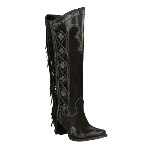 Double D Ranch Boots - Domingo Fringed Boot Black