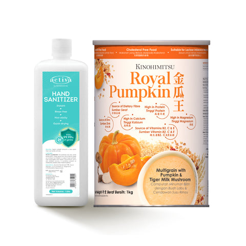 Royal Pumpkin 1kg & Activa Hand Sanitizer 1L - Protection Inside & Out