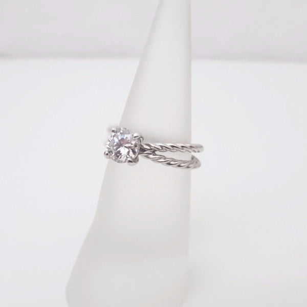 Rope Twisted Solitaire Engagement Ring - LEL JEWELRY  - 2