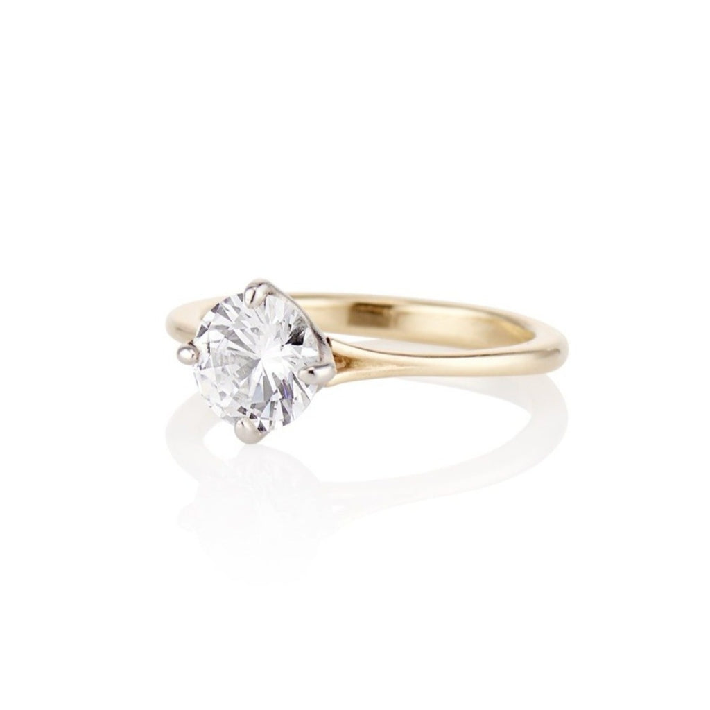 'Grace' Solitaire Four Prong 1ct Round Engagement Ring