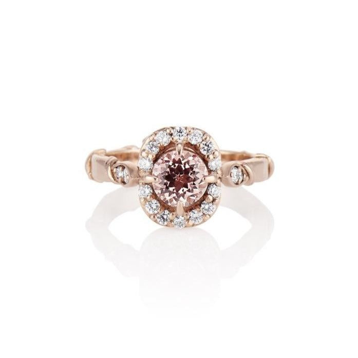 'Olivia'' Rose Gold leaf vine Peach sapphire diamond halo ring