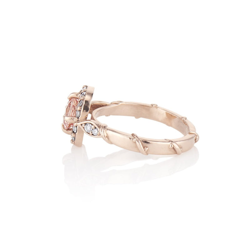 'Olivia' Rose Gold Leaf Vine Peach Sapphire Diamond Halo Ring