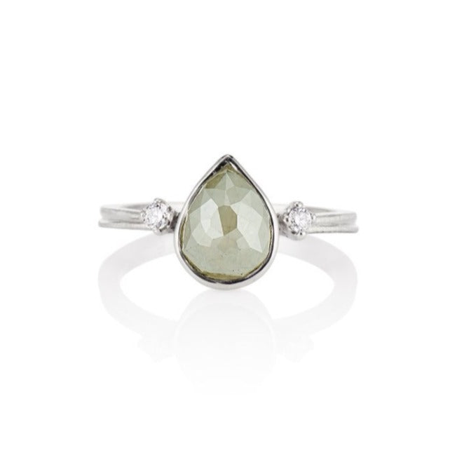 'Mia' Gray Rose Cut Pear Diamond Ring