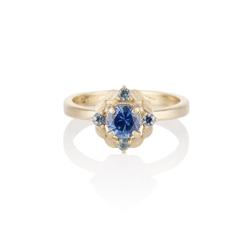 'Laurel' Blue Sapphire halo style ring