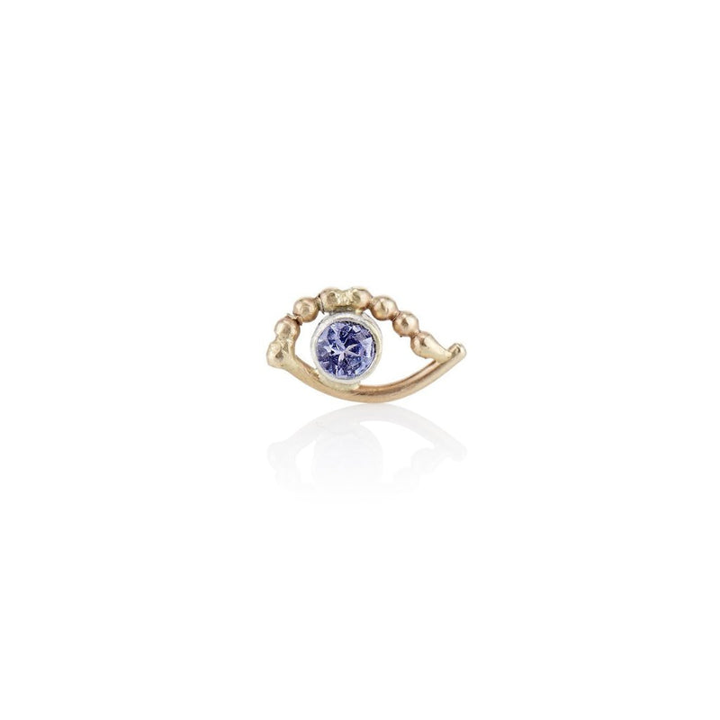 'Blue eye' beaded Tanzanite stud earrings - LEL JEWELRY
