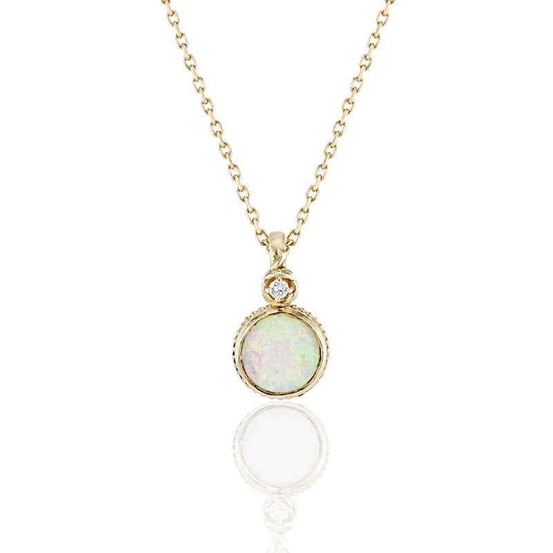 'Rose vine' Opal diamond pendant