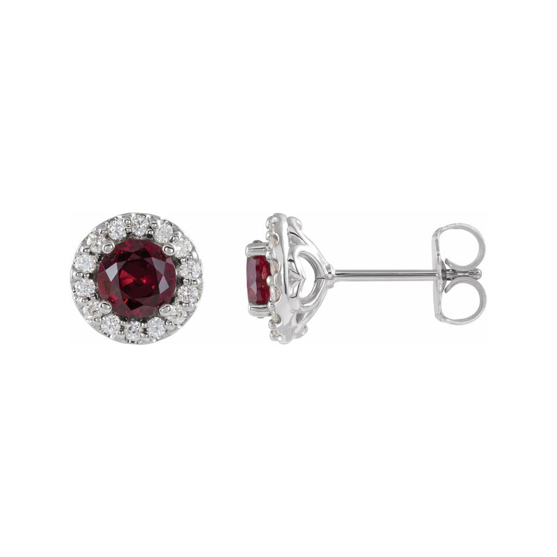 Ruby Halo Diamond Stud Earrings
