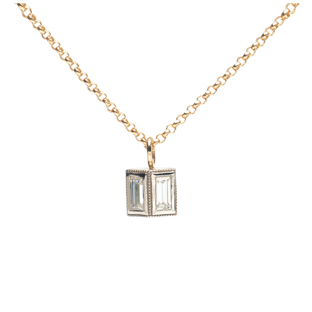 Reflection Baguette Two tone Gold Necklace Vertical