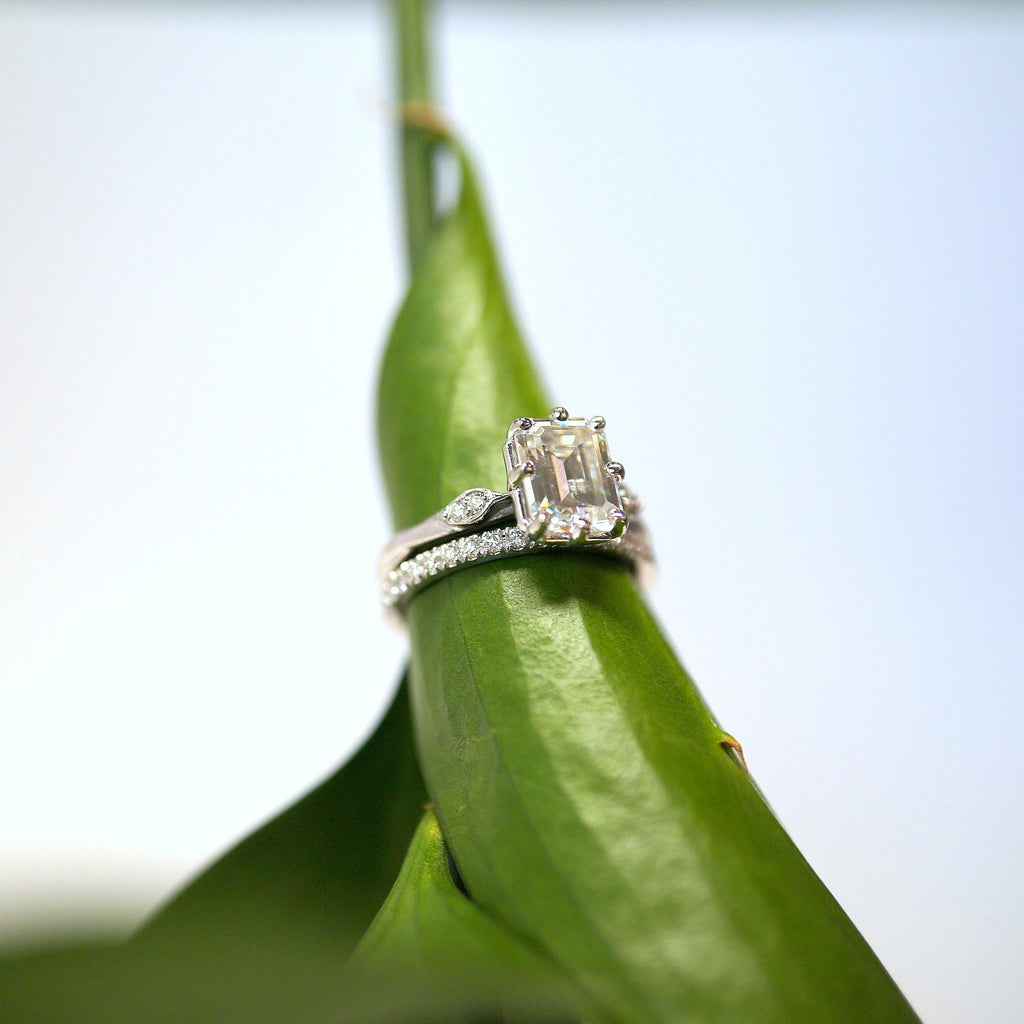 'Heather' setting for Emerald cut and diamond wedding band