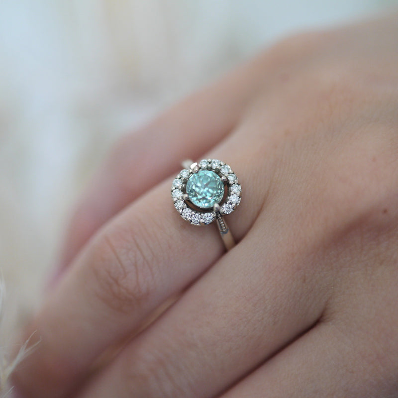 Nadia Blue Zircon Diamond Halo Ring
