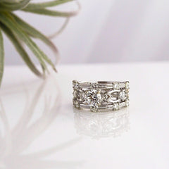'Lattice' Round Diamond Ring - LEL JEWELRY