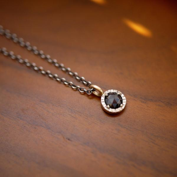 'Stella' black rose cut diamond pendant