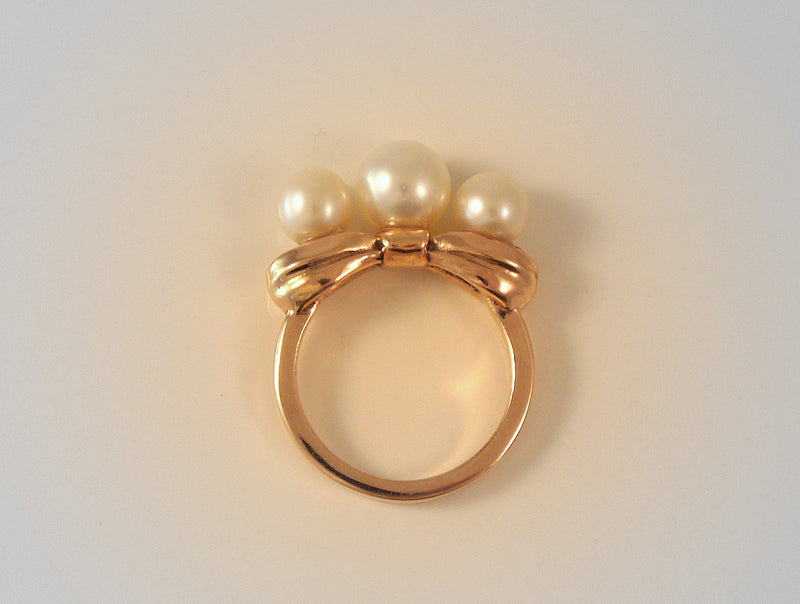 Gold Bow Ring with Three Pearls - LEL JEWELRY  - 5