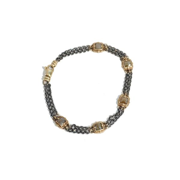 Square Raw Diamond Gold Bracelet