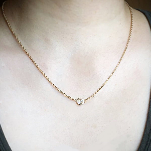 Crescent Single Rose Cut Necklace