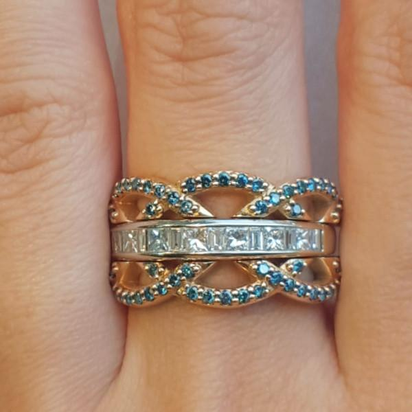 A Set of Blue diamond Crown Stacking Bands - LEL JEWELRY